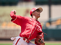 Monsignor Pace Spartans pitcher Jeffrey Polledo (21) during the 42nd Annual FACA All-Star Baseball Classic on June 6, 2021 at Joker Marchant Stadium in Lakeland, Florida.  (Mike Janes/Four Seam Images)