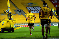 Dane Coles leads the Hurricanes out for the Super Rugby Aotearoa match between the Hurricanes and Highlanders at Sky Stadium in Wellington, New Zealand on Friday, 30 April 2020. Photo: Dave Lintott / lintottphoto.co.nz