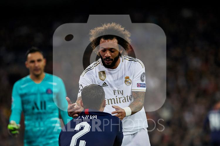 Marcelo Vieira of Real Madrid and Thiago Silva of Paris Saint-Germain FC during UEFA Champions League match between Real Madrid and Paris Saint-Germain FC at Santiago Bernabeu Stadium in Madrid, Spain. November 26, 2019. (ALTERPHOTOS/A. Perez Meca)