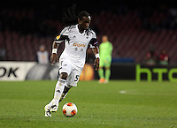 Thursday 27 February 2014<br /> Pictured: Marvin Emnes of Swansea<br /> Re: UEFA Europa League, SSC Napoli v Swansea City FC at Stadio San Paolo, Naples, Italy.