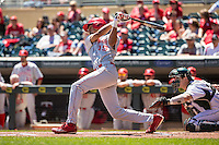 Luis Alvarado (19) of the Nebraska Cornhuskers bats during a 2015 Big Ten Conference Tournament game between the Nebraska Cornhuskers and Michigan State Spartans at Target Field on May 20, 2015 in Minneapolis, Minnesota. (Brace Hemmelgarn/Four Seam Images)