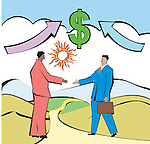 Businessmen shaking hands in front of dollar sign