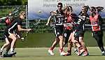GER - Hannover, Germany, May 30: During the Women Lacrosse Playoffs 2015 match between DHC Hannover (black) and SC Frankfurt 1880 (red) on May 30, 2015 at Deutscher Hockey-Club Hannover e.V. in Hannover, Germany. Final score 23:3. (Photo by Dirk Markgraf / www.265-images.com) *** Local caption *** (L-R) Regina Flatken #6 of DHC Hannover, Katharina Blank #11 of DHC Hannover, Inga Hupka #8 of SC 1880 Frankfurt, Mareile Kriwall #2 of DHC Hannover, Rebecca Duecker #12 of SC 1880 Frankfurt