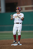 Bobby Stahel (4) of the Southern California Trojans stands on second base during a game against the Washington State Cougars at Dedeaux Field on March 13, 2015 in Los Angeles, California. Southern California defeated Washington State, 10-3. (Larry Goren/Four Seam Images)