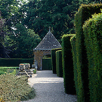 Clipped hedges surround the private gardens at Glamis Castle