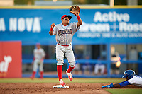 Clearwater Threshers Grenny Cumana waits to receive a throw during a game against the Dunedin Blue Jays on April 8, 2017 at Florida Auto Exchange Stadium in Dunedin, Florida.  Dunedin defeated Clearwater 12-6.  (Mike Janes/Four Seam Images)