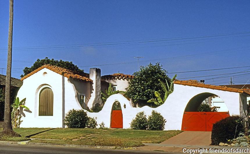 San Diego: Romantic Spanish Colonial Bungalow, 1920's (?). Crown Pt. Drive, Pac. Beach. (Photo '78)