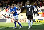 Motherwell v St Johnstone....28.04.12   SPL.Liam Craig grabs the ball after scoring from the penalty spot.Picture by Graeme Hart..Copyright Perthshire Picture Agency.Tel: 01738 623350  Mobile: 07990 594431
