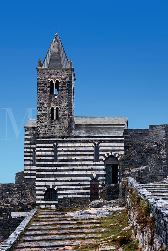 Exterior view of St Peters medieval church, Porto Venere, Italy