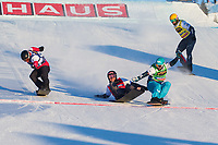 12th February 2021; Idre Fjall, Sweden;  Lucas Eguibar 2nd R of Spain, Alessandro Haemmerle 2nd L of Austria and Eliot Grondin 1st L of Canada compete during the mens snowboard cross final at the FIS ski cross and snowboard cross World Championships in Idre Fjall, Sweden