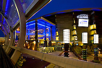 Exterior photo at dusk featuring the Time Warner Cable Arena in Charlotte, NC. Time Warner Cable Arena is home to the Charlotte Bobcats located in uptown Charlotte.