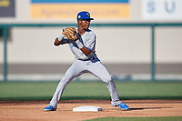 Dunedin Blue Jays second baseman Samad Taylor (1) throws to first during a Florida State League game against the Lakeland Flying Tigers on May 18, 2019 at Publix Field at Joker Marchant Stadium in Lakeland, Florida.  Dunedin defeated Lakeland 3-2 in eleven innings.  (Mike Janes/Four Seam Images)