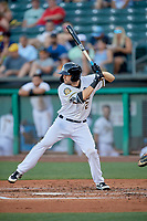 Anthony Bemboom (2) of the Salt Lake Bees at bat against the Las Vegas Aviators at Smith's Ballpark on July 20, 2019 in Salt Lake City, Utah. The Aviators defeated the Bees 8-5. (Stephen Smith/Four Seam Images)