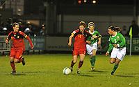 UEFA Women's Euro Qualifying group stage (Group 3) -  KFC Dessel - Armand Melis Stadion : BELGIUM -Northern Ireland ( Belgie - Noord Ierland ) : Lien Mermans aan de bal voor Julie Gregoire (links) , Caragh Milligan (11) en Demi Vance (3)..foto DAVID CATRY / Vrouwenteam.be / Loft6.be