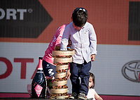 Richard Carapaz (ECU/Movistar) son checks the toy qualities of the Trofeo Senza Fine <br /> <br /> wins the 102nd Giro d'Italia <br /> <br /> Stage 21 (ITT): Verona to Verona (17km)<br /> 102nd Giro d'Italia 2019<br /> <br /> ©kramon