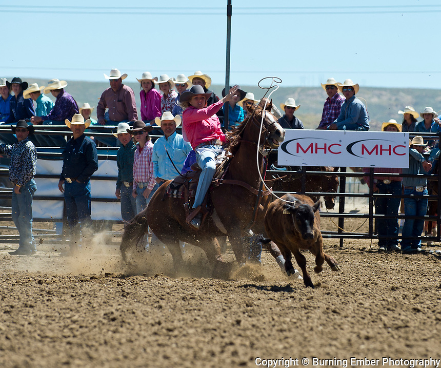 Sheyenne Jacobson in the Breakaway event at the Saturday Short Go round event at the Wyoming State High School Finals Rodeo in Rock Springs Wyoming.  Photo by Josh Homer/Burning Ember Photography.  Photo credit must be given on all uses.