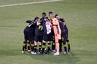 COLUMBUS, OH - DECEMBER 12: Columbus Crew players huddle before the start of the second half during a game between Seattle Sounders FC and Columbus Crew at MAPFRE Stadium on December 12, 2020 in Columbus, Ohio.