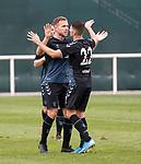 11.01.2020 Rangers v Lokomotiv Tashkent, Sevens Stadium, Dubai:<br /> Greg Stewart celebrates goal no 6 with Jordan Jones