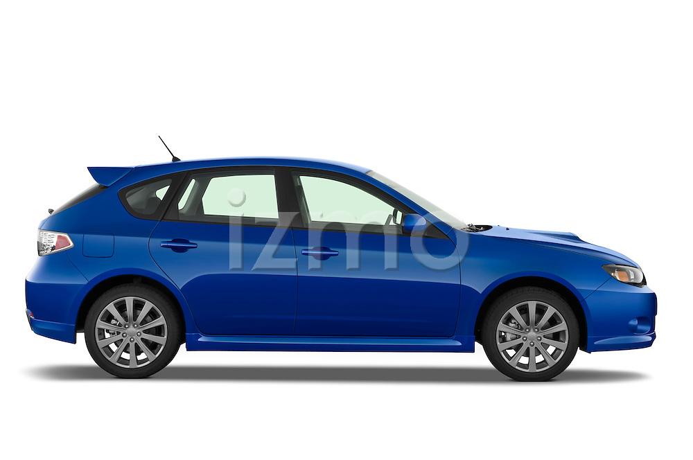 Passenger side profile view of a 2009 Subaru Impreza Wagon WRX.