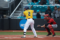 Zack Budzik (2) of the UNCG Spartans at bat against the San Diego State Aztecs at Springs Brooks Stadium on February 16, 2020 in Conway, South Carolina. The Spartans defeated the Aztecs 11-4.  (Brian Westerholt/Four Seam Images)