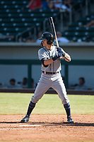 Peoria Javelinas center fielder Ian Miller (9), of the Seattle Mariners organization, at bat during an Arizona Fall League game against the Mesa Solar Sox at Sloan Park on October 24, 2018 in Mesa, Arizona. Mesa defeated Peoria 4-3. (Zachary Lucy/Four Seam Images)