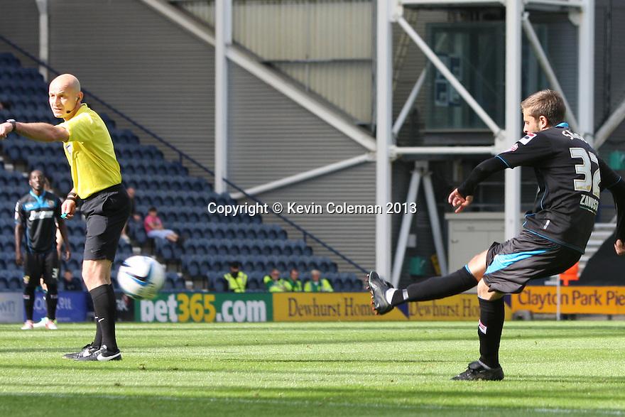 Robin Shroot of Stevenage goes close with a free-kick<br />  - Preston North End v Stevenage - Sky Bet League One - Deepdale, Preston - 14th September 2013. <br /> © Kevin Coleman 2013