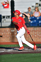 Johnson City Cardinals Jhon Torres (22) swings at a pitch during game two of the Appalachian League, West Division Playoffs against the Bristol Pirates at TVA Credit Union Ballpark on August 31, 2019 in Johnson City, Tennessee. The Cardinals defeated the Pirates 7-4 to even the series at 1-1. (Tony Farlow/Four Seam Images)