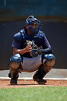 GCL Yankees East catcher Hemmanuel Rosario (7) in the bullpen during a Gulf Coast League game against the GCL Phillies West on August 3, 2019 at the Carpenter Complex in Clearwater, Florida.  The GCL Yankees East defeated the GCL Phillies West 4-0, the second game of a doubleheader.  (Mike Janes/Four Seam Images)