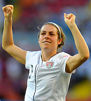 Kelley O'Hara of team USA celebrates during the FIFA Women's World Cup at the FIFA Stadium in Dresden, Germany on June 28th, 2011.