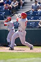 Spokane Indians' Cam Schiller #12 at bat during a game against the Everett AquaSox at Everett Memorial Stadium on June 24, 2012 in Everett, WA.  Spokane defeated Everett 11-2.  (Ronnie Allen/Four Seam Images)