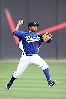 Rafael Ynoa #5 of the Rancho Cucamonga Quakes leaps to make a throw against the High Desert Mavericks at The Epicenter in Rancho Cucamonga,California on May 8, 2011. Photo by Larry Goren/Four Seam Images