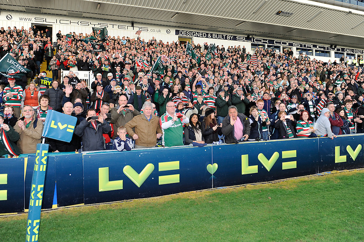 Leicester Tigers fans celebrate winning the LV= Cup Final match between Leicester Tigers and Northampton Saints at Sixways Stadium, Worcester on Sunday 18 March 2012 (Photo by Rob Munro, Fotosports International)