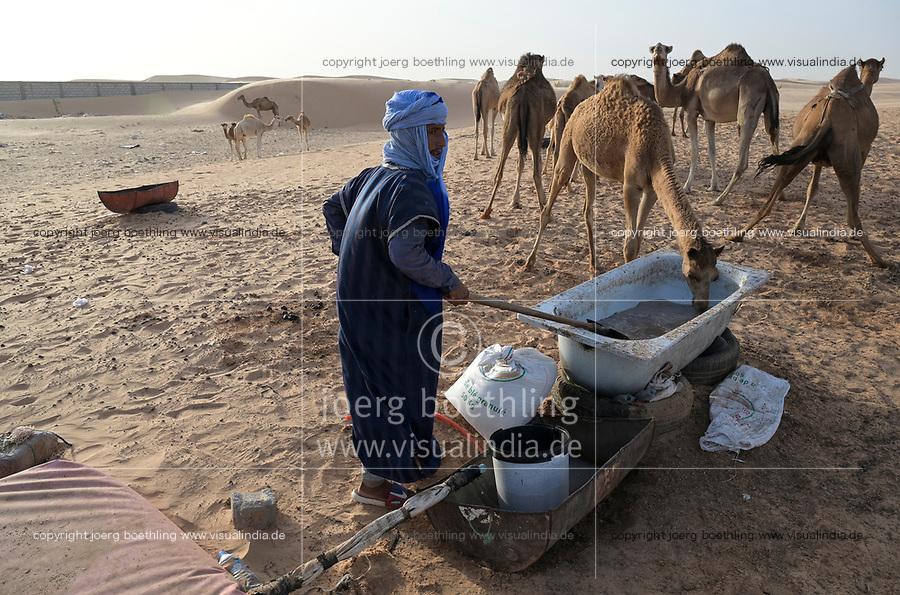 MAURETANIA, Nouakchott, desert on the outskirts, moor nomads with camel herd for milk sale , large water bag / MAURETANIEN, Nuakschott, Wüste am Stadtrand, Mauren mit Kamelherde für Milchverkauf, großer Wassersack