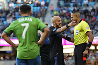 SAN JOSE, CA - SEPTEMBER 29: Magnus Eriksson #7 of the San Jose Earthquakes argues with the referee during a Major League Soccer (MLS) match between the San Jose Earthquakes and the Seattle Sounders on September 29, 2019 at Avaya Stadium in San Jose, California.