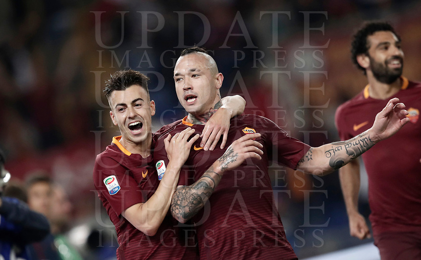 Calcio, Serie A: Roma vs Juventus. Roma, stadio Olimpico, 14 maggio 2017. <br /> Roma's Radja Nainggolan, right, celebrates with teammate Stephan El Shaarawy, after scoring during the Italian Serie A football match between Roma and Juventus at Rome's Olympic stadium, 14 May 2017. Roma won 3-1.<br /> UPDATE IMAGES PRESS/Isabella Bonotto