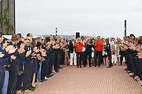 --- NO TABLOIDS, NO SITE WEB --- MONACO, LE 29 JUILLET 2016. CEREMONIE MARQUANT LE TOUR DU MONDE DE 'SOLAR IMPULSE' A L'ESPLANADE JACQUES BOISSY, A LA PISCINE DU YACHT CLUB DE MONACO.<br /> EN PRESENCE DE S.A.S. LE PRINCE ALBERT DE MONACO ET DES DEUX PILOTES DE 'SOLAR IMPULSE' BERTRAND PICARD ET ANDRE BORSCHBERG # LE PRINCE ALBERT CELEBRE LE TOUR DU MONDE DE 'SOLAR IMPULSE' EN PRESENCE DE SES DEUX PILOTES