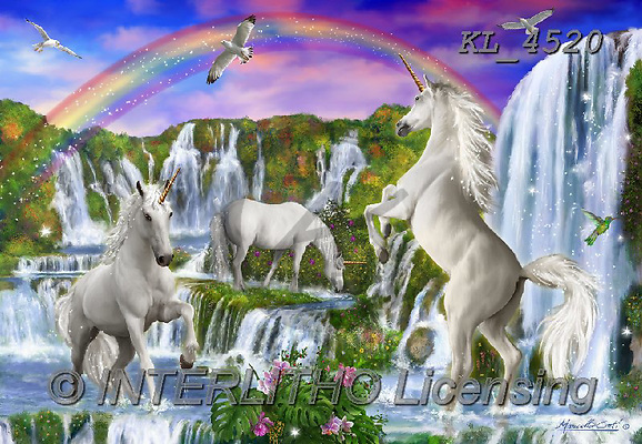 Interlitho-Marcello, FANTASY, paintings+++++,unicorns,KL4520,#FI#, EVERYDAY,waterfalls,rainbow ,puzzles