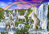 Interlitho-Marcello, FANTASY, paintings+++++,unicorns,KL4520,#FI#, EVERYDAY,waterfalls,rainbow ,puzzles