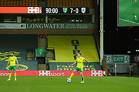6th April 2021; Carrow Road, Norwich, Norfolk, England, English Football League Championship Football, Norwich versus Huddersfield Town; The 7-0 score is seen at the home stand