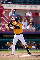 Erie SeaWolves Dillon Dingler (15) bats during a game against the Harrisburg Senators on September 5, 2021 at UPMC Park in Erie, Pennsylvania.  (Mike Janes/Four Seam Images)