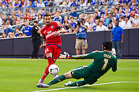 Chelsea FC goalkeeper Petr Cech (1) stops the shot of Ezequiel Lavezzi (11) of Paris Saint-Germain. Chelsea FC and Paris Saint-Germain played to a 1-1 tie during a 2012 Herbalife World Football Challenge match at Yankee Stadium in New York, NY, on July 22, 2012.