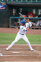 Ogden Raptors right fielder Matt Cogen (49) at bat during a Pioneer League game against the Great Falls Voyagers at Lindquist Field on August 23, 2018 in Ogden, Utah. The Ogden Raptors defeated the Great Falls Voyagers by a score of 8-7. (Zachary Lucy/Four Seam Images)