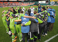 Seattle Sounders at kick off.    DC United defeated The Seattle Sounders 2-1 at  RFK Stadium, Wednesday May 4, 2011.