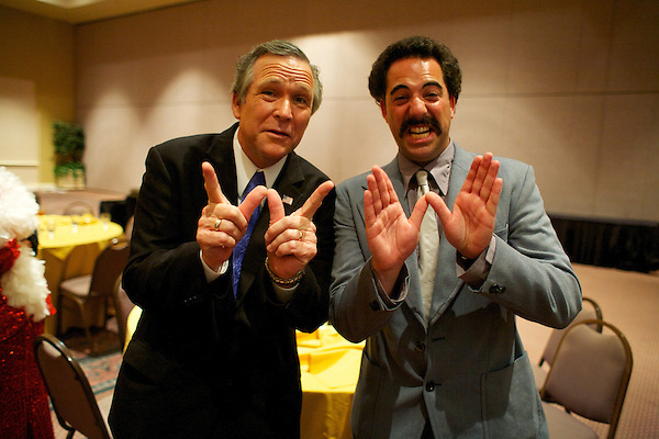 George Bush impersonator John Morgan and a Sacha Baron Cohen Borat Impersonator play about at the Sunburst.Convention of Professional Tribute Artists