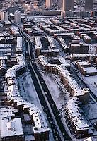 aerial, winter, Chester Square, Boston, MA Massachusetts Avenue, South End