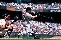 SAN FRANCISCO, CA - Jeff Bagwell of the Houston Astros bats during a game against the San Francisco Giants at Pacific Bell Park in San Francisco, California in 2001. Photo by Brad Mangin