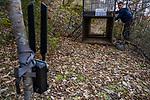 Balkan Lynx (Lynx lynx balcanicus) biologist, Eko Veapi, checking box trap, Mavrovo National Park, North Macedonia
