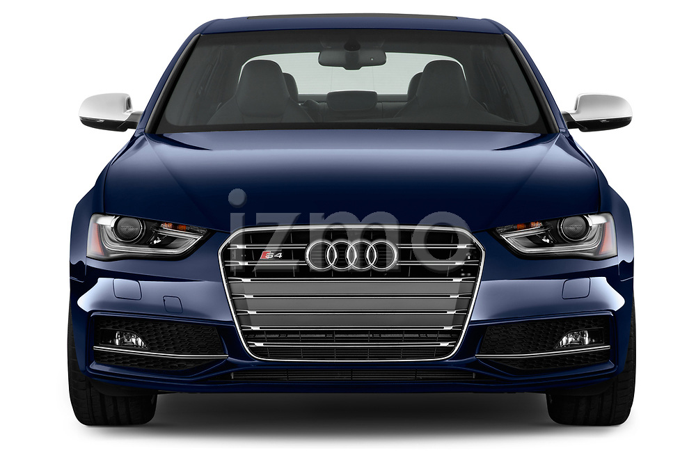 Car photography straight front view of a 2014 Audi S4 Base 4 Door Sedan