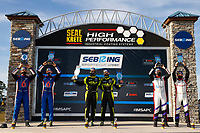 #7 VOLT Racing with Archangel Ligier JS P320, P3-1: Trent Hindman, Alan Brynjolfsson <br /> Winner, victory lane<br /> #54: MLT Motorsports Ligier JS P320, P3-1: Dakota Dickerson, Josh Sarchet<br /> #6: Performance Tech Motorsports Ligier JS P320, P3-1: Dan Goldburg, Rasmus Lindh