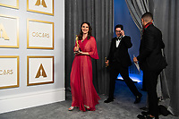 Alice Doyard and Anthony Giacchino head backstage with the Oscar® for Documentary Short Subject during the live ABC Telecast of The 93rd Oscars® at Union Station in Los Angeles, CA on Sunday, April 25, 2021.<br /> *Editorial Use Only*<br /> ©A.M.P.A.S.<br /> Image supplied by Capital Pictures